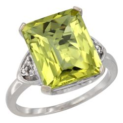 Natural 5.44 ctw lemon-quartz & Diamond Engagement Ring 14K White Gold - REF-43R9Z