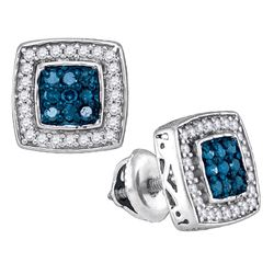 0.50 CTW Blue Color Diamond Square Cluster Earrings 10KT White Gold - REF-26N9F