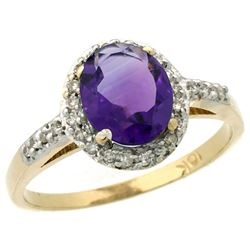 Natural 1.3 ctw Amethyst & Diamond Engagement Ring 14K Yellow Gold - REF-32M2H