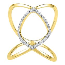 0.16 CTW Diamond Open Strand Knuckle Fashion Ring 10KT Yellow Gold - REF-19K4W