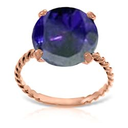 Genuine 9.8 ctw Sapphire Ring Jewelry 14KT Rose Gold - REF-88K8V