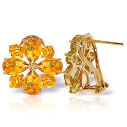 Genuine 4.85 ctw Citrine Earrings Jewelry 14KT Yellow Gold - REF-58W4Y