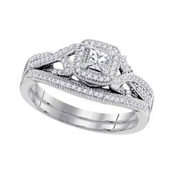 0.38 CTW Diamond Princess Bridal Engagement Ring 10KT White Gold - REF-52X4Y
