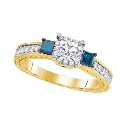 1 CTW 3-stone Blue Color Diamond Bridal Ring 14k Yellow Gold - REF-133F4N