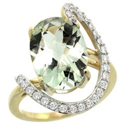 Natural 5.89 ctw Green-amethyst & Diamond Engagement Ring 14K Yellow Gold - REF-91N4G