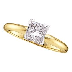 0.21 CTW Princess Diamond Solitaire Bridal Engagement Ring 14KT Yellow Gold - REF-30M2H
