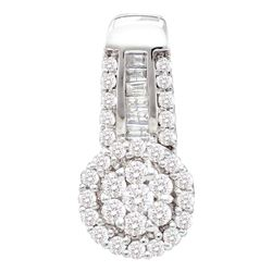 0.52 CTW Diamond Cluster Pendant 14KT White Gold - REF-44Y9X