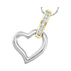 0.07 CTW Diamond Heart Love Pendant 10KT Two-tone Gold - REF-9Y7X