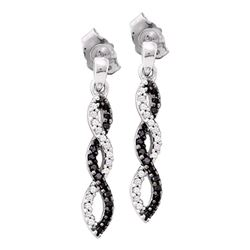 0.15 CTW Black Color Diamond Infinity Dangle Screwback Earrings 10KT White Gold - REF-18H2M