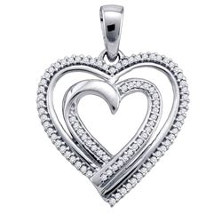 0.25 CTW Diamond Double Nested Heart Pendant 10KT White Gold - REF-25H4M