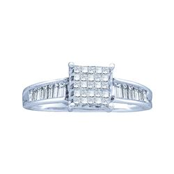 0.50 CTW Princess Diamond Square Cluster Ring 14KT White Gold - REF-30K2W