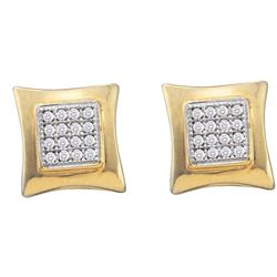 0.10 CTW Diamond Square Kite Cluster Screwback Earrings 10KT Yellow Gold - REF-13Y4X