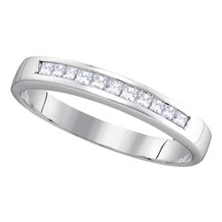 0.25 CTW Princess Channel-set Diamond Single Row Ring 14KT White Gold - REF-32N9F