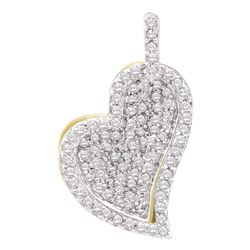 0.33 CTW Diamond Heart Pendant 10KT Yellow Gold - REF-22K4W