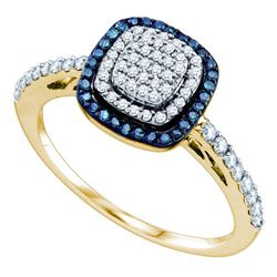 0.40 CTW Blue Color Diamond Square-shape Cluster Ring 10KT Yellow Gold - REF-32H9M