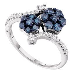 0.80 CTW Blue Color Diamond Double Flower Cluster Ring 10KT White Gold - REF-37H5M