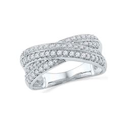 0.50 CTW Diamond Crossover Ring 10KT White Gold - REF-52M4H