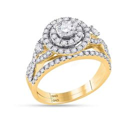 1.49 CTW Diamond Halo Bridal Engagement Ring 14KT Yellow Gold - REF-194X9Y