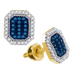 0.25 CTW Blue Color Diamond Cluster Earrings 10KT Yellow Gold - REF-25Y4X