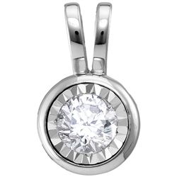 0.08 CTW Diamond Solitaire Faceted Framed Pendant 10KT White Gold - REF-9F7N
