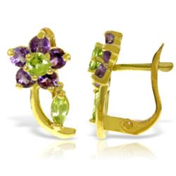 Genuine 1.72 ctw Peridot & Amethyst Earrings Jewelry 14KT Yellow Gold - REF-40A5K