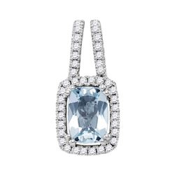1 CTW Cushion Aquamarine Solitaire Diamond Pendant 14KT White Gold - REF-44Y9X