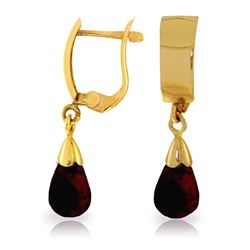 Genuine 2.5 ctw Garnet Earrings Jewelry 14KT Yellow Gold - REF-22Y3F