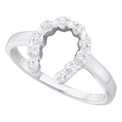 0.05 CTW Diamond Simple Lucky Horseshoe Ring 14KT White Gold - REF-13H4M