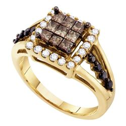 1 CTW Princess Cognac-brown Color Diamond Framed Ring 14KT Yellow Gold - REF-75H2M