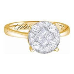 2 CTW Princess Diamond Soleil Cluster Bridal Engagement Ring 14KT Yellow Gold - REF-285F2N
