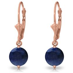 Genuine 3.3 ctw Sapphire Earrings Jewelry 14KT Rose Gold - REF-45K7V
