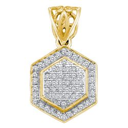 0.20 CTW Diamond Hexagon Cluster Pendant 10KT Yellow Gold - REF-19K4W