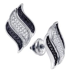 0.27 CTW Black Color Diamond Stud Unique Earrings 10KT White Gold - REF-24M2H