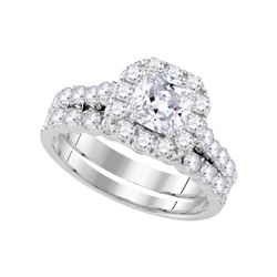 2 CTW Diamond Halo Bridal Engagement Ring 14k White Gold - REF-382X4Y