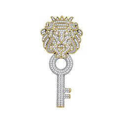 0.88 CTW Mens Diamond King Lion Key Charm Pendant 10KT Yellow Gold - REF-67X4Y