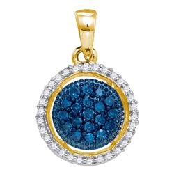 0.21 CTW Blue Color Diamond Circle Cluster Pendant 10KT Yellow Gold - REF-18K2W