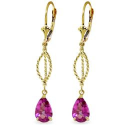 Genuine 3 ctw Pink Topaz Earrings Jewelry 14KT Yellow Gold - REF-46R2P
