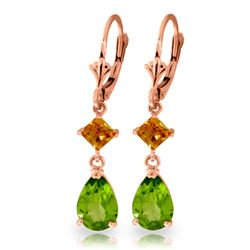 Genuine 4.5 ctw Peridot & Citrine Earrings Jewelry 14KT Rose Gold - REF-41F4Z