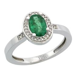 Natural 1.08 ctw Emerald & Diamond Engagement Ring 14K White Gold - REF-34M2H