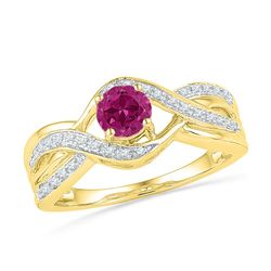 0.10 CTW Created Pink Sapphire Solitaire Diamond Ring 10KT Yellow Gold - REF-20K9W