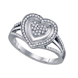 0.25 CTW Diamond Heart Cluster Ring 10KT White Gold - REF-34H4M