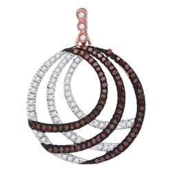 0.40 CTW Red Color Diamond Circle Pendant 10KT Rose Gold - REF-37F5N
