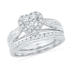 0.50 CTW Diamond Heart Bridal Engagement Ring 10KT White Gold - REF-52M4H
