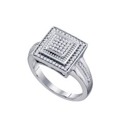 0.22 CTW Diamond Square Cluster Ring 10KT White Gold - REF-34N4F