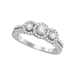 0.75 CTW Diamond 3-stone Bridal Engagement Ring 14k White Gold - REF-87N2F