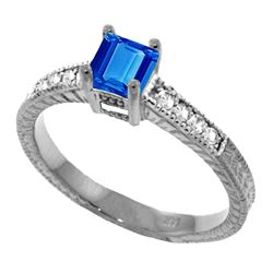 Genuine 0.65 ctw Blue Topaz & Diamond Ring Jewelry 14KT White Gold - REF-69Z6N