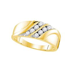 0.50 CTW Mens Diamond Wedding Ring 10KT Yellow Gold - REF-52F4N