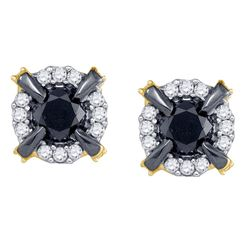 0.95 CTW Black Color Diamond Stud Earrings 10KT Yellow Gold - REF-34W4K