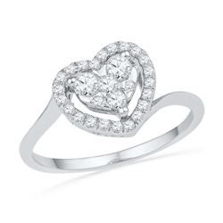 0.33 CTW Diamond Heart Cluster Ring 10KT White Gold - REF-30W2K
