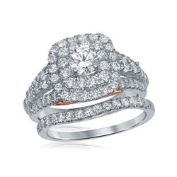 2 CTW Diamond Bellissimo Double Halo Bridal Engagement Ring 14KT White Gold - REF-299M9H